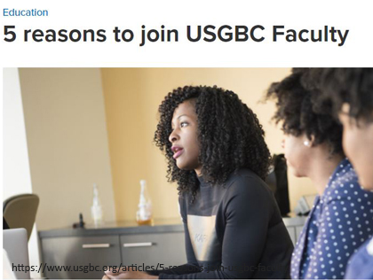 5 reasons to join USGBC Faculty